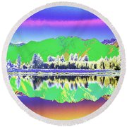 Psychedelic Mirror Lake New Zealand 3 Round Beach Towel