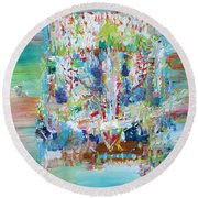 Psychedelic Object Round Beach Towel