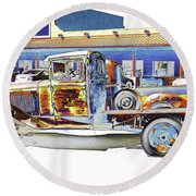 Psychedelic Old Pickup Truck Round Beach Towel