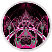 Psychedelic Rollercoaster Tunnel Fractal 65 Round Beach Towel