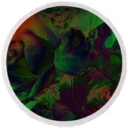 Psychedelic Rose Round Beach Towel