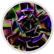 Psychedelic Rubber Plant Round Beach Towel