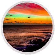 Psychedelic Sky Round Beach Towel