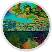 Psychedelic Skyline Over Spokane River #1 Round Beach Towel