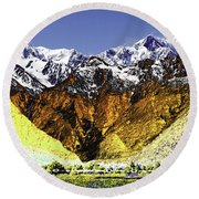 Psychedelic Southern Alps New Zealand Round Beach Towel