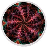 Psychedelic Spiral Vortex Purple Pink And Teal Fractal Flame Round Beach Towel