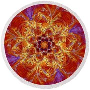 Psychedelic Spiral Vortex Red Orange And Blue Fractal Flame Round Beach Towel by Keith Webber Jr