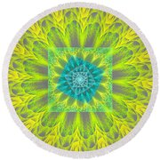 Psychedelic Spiral Vortex Yellow And Gray Fractal Flame Round Beach Towel