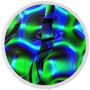 Psychedelic Streamers By Jammer Round Beach Towel