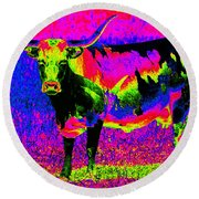 Psychedelic Texas Longhorn Round Beach Towel