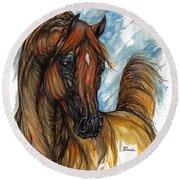 Psychodelic Chestnut Horse Original Painting 2 Round Beach Towel