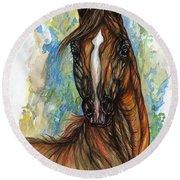 Psychodelic Chestnut Horse Original Painting Round Beach Towel