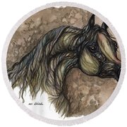 Psychodelic Grey Horse Original Painting Round Beach Towel