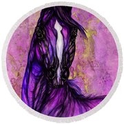 Psychodelic Purple Horse Round Beach Towel