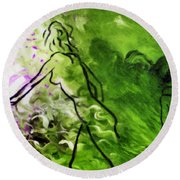 Psychological State In Green Round Beach Towel