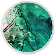 Psychological State Of Emerald Round Beach Towel