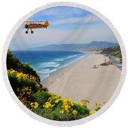 Pt Dume Biplane Round Beach Towel