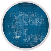 Pt Farnsworth Television Patent Blueprint 1930 Round Beach Towel