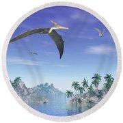Pteranodon Birds Flying Above Islands Round Beach Towel