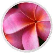 Pua Lei Aloha Cherished Blossom Pink Tropical Plumeria Hina Ma Lai Lena O Hawaii Round Beach Towel