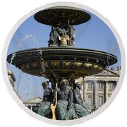 Public Fountain At The Place De La Concorde In Paris France Round Beach Towel