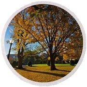 Public Garden Fall Tree Round Beach Towel