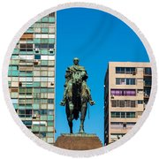 Public Statue Of General Artigas In Montevideo Round Beach Towel