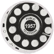 Public Telephone 1957 In Black And White Retro Round Beach Towel