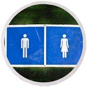 Public Toilet Sign Round Beach Towel