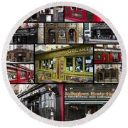 Pubs Of Dublin Round Beach Towel by David Smith