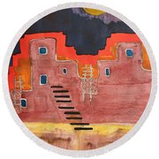 Pueblito Original Painting Round Beach Towel