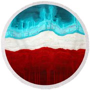 Pueblo Cemetery Original Painting Round Beach Towel