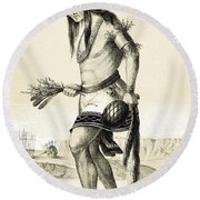 Pueblo Zuni Buffalo Dance, 1850s Round Beach Towel