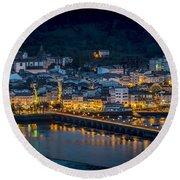 Puentedeume View From Cabanas Galicia Spain Round Beach Towel