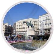 Puerta Del Sol In Madrid Round Beach Towel