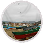 Puerto Lopez Beach And Boats Round Beach Towel