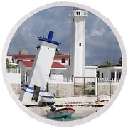 Puerto Morelos Lighthouse Round Beach Towel