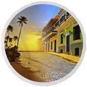 Puerto Rico Collage 2 Round Beach Towel by Stephen Anderson