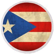 Puerto Rico Flag Vintage Distressed Finish Round Beach Towel by Design Turnpike