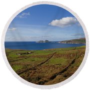 Puffin Island From The Skelligs Ring Round Beach Towel