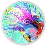 Puffy Bloom W Bee Abstract Round Beach Towel