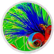 Puffy Bloom W Bee In Rainbow Round Beach Towel