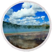 Puffy Clouds And Hot Springs Round Beach Towel