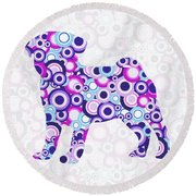 Pug - Animal Art Round Beach Towel