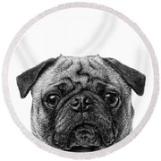 Pug Dog Square Format Round Beach Towel