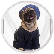 Pug In Sweater And Hat Round Beach Towel