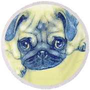 Pug Puppy Pastel Sketch Round Beach Towel