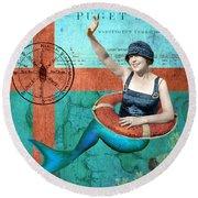 Puget Sound Mermaid  Round Beach Towel
