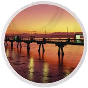 Puget Sound Olympic Mountains Fishing Pier Round Beach Towel