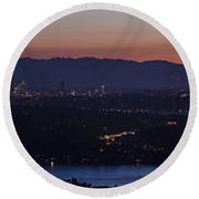 Puget Sound Panorama Round Beach Towel